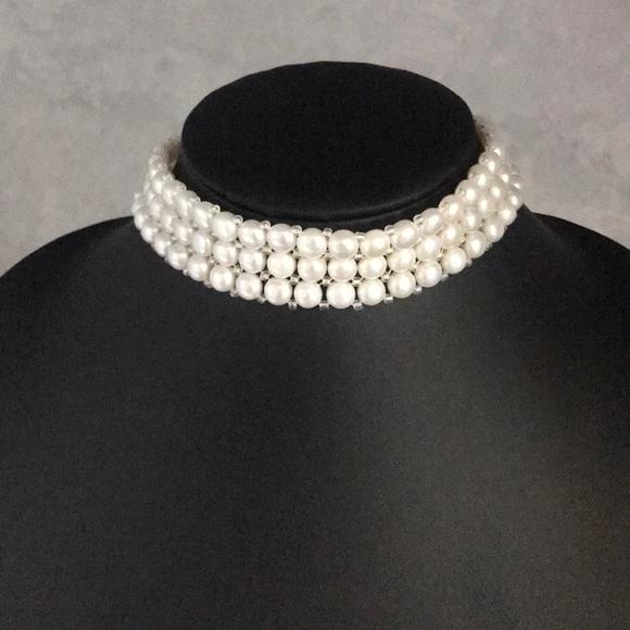 unknown Jewelry - Faux Pearl Stretch Choker